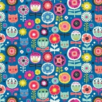 Makower UK - Kitty Floral in Blue, per fat quarter