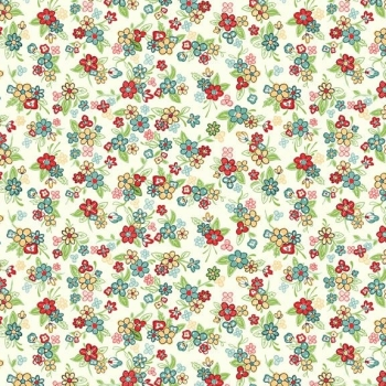 Makower UK - Katie Jane Multi Floral in Cream, per fat quarter