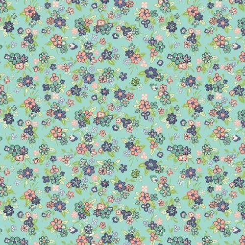 <!--3223-->Makower UK - Katie Jane Multi Floral in Turquoise, per fat quart