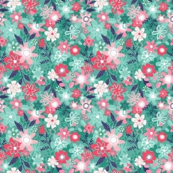 Makower UK - Fruity Friends Floral in Blue, per fat quarter    **WAS £2.65**