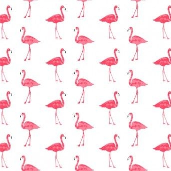 <!--3212-->Makower UK - Fruity Friends Flamingo in White, per fat quarter