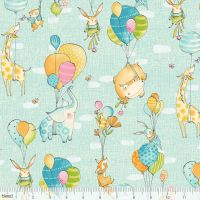 <!--5219-->Blend Fabrics - Hello World...Good Day - Fly Away Day in Blue, per fat quarter