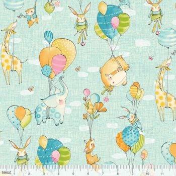 Blend Fabrics - Hello World...Good Day - Fly Away Day in Blue, per fat quarter