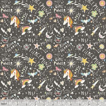 Blend Fabrics - Sugar & Spice - Word Power in Grey, per fat quarter
