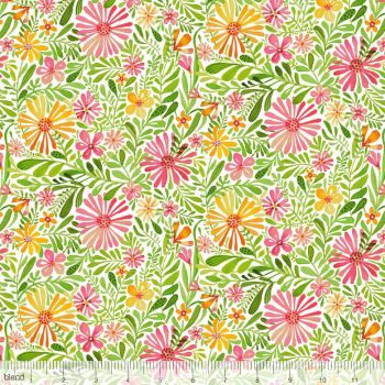 Blend Fabrics - Sugar & Spice - Meadow Daydream in White, per fat quarter