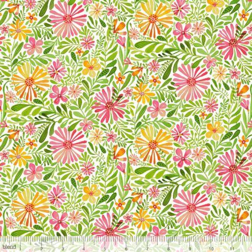 <!--5211-->Blend Fabrics - Sugar & Spice - Meadow Daydream in White, per fa