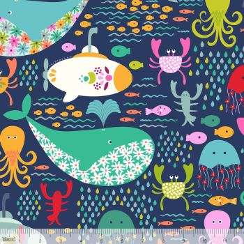 Blend Fabrics - Go Fish - Under The Sea in Navy, per fat quarter
