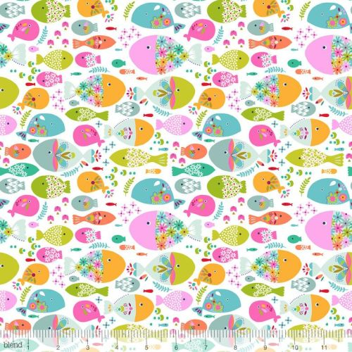 <!--5214-->Blend Fabrics - Go Fish - Swimming with the Fishes in White, per