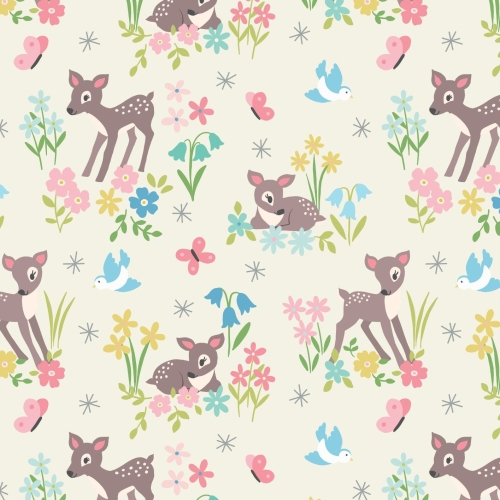 <!--4210-->Lewis & Irene - So Darling! Little Deer in Cream, per fat quarte