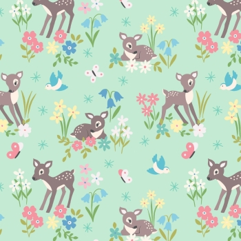 Lewis & Irene - So Darling! Little Deer on Mint, per fat quarter