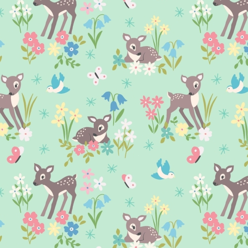 <!--4211-->Lewis & Irene - So Darling! Little Deer on Mint, per fat quarter