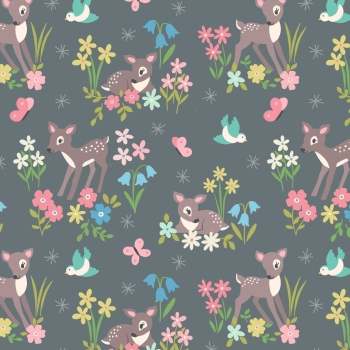 Lewis & Irene - So Darling! Little Deer on Grey, per fat quarter