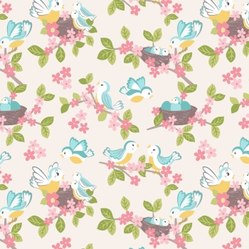 Lewis & Irene - So Darling! Bluebirds on Cream, per fat quarter