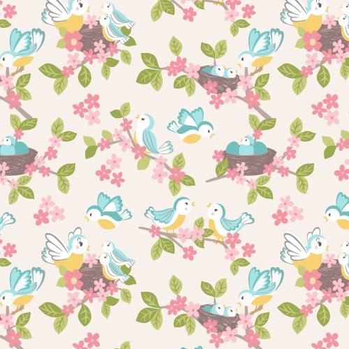 <!--4213-->Lewis & Irene - So Darling! Bluebirds on Cream, per fat quarter
