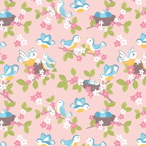 <!--4214-->Lewis & Irene - So Darling! Bluebirds on Rose, per fat quarter