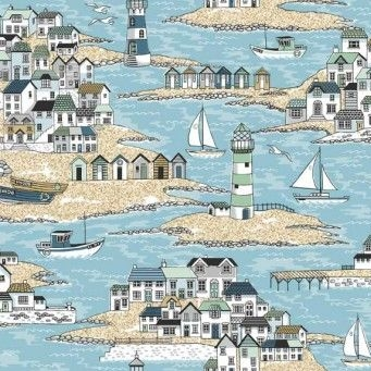 Makower UK - Beachcomber Scenic, per fat quarter