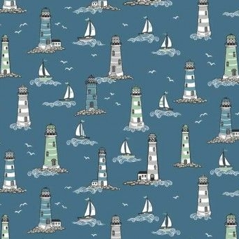 <!--3241-->Makower UK - Beachcomber Lighthouses, per fat quarter