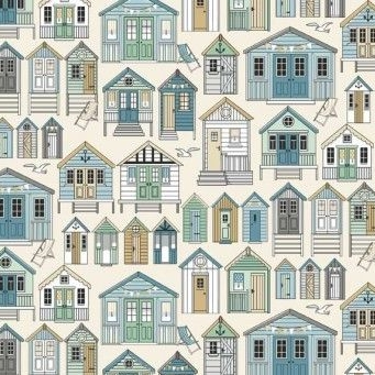 Makower UK - Beachcomber Beach Huts, per fat quarter