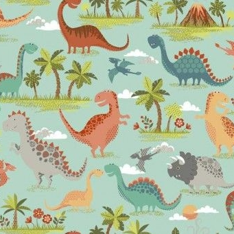 Makower UK - Rex Scenic in Turquoise, per fat quarter