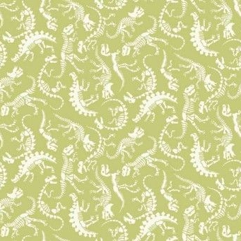 <!--3249-->Makower UK - Rex Skeleton in Green, per fat quarter