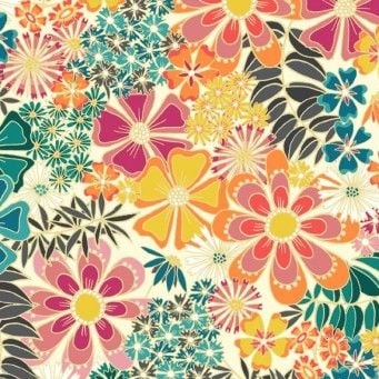 Makower UK - Sundance Large Floral in Ivory, per fat quarter  ***WAS £2.65***