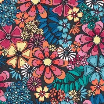 <!--3231-->Makower UK - Sundance Large Floral in Blue, per fat quarter