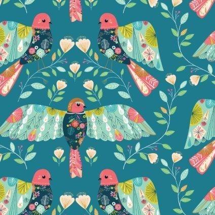 <!--5017-->Dashwood Studios - Flock - Multi Birds, per fat quarter