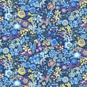 Sevenberry - Floral on Blue, per fat quarter