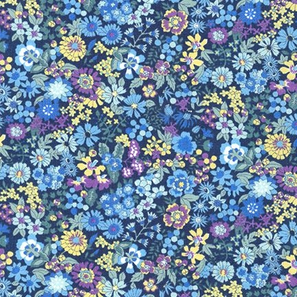 <!--5801-->Sevenberry - Floral on Blue, per fat quarter