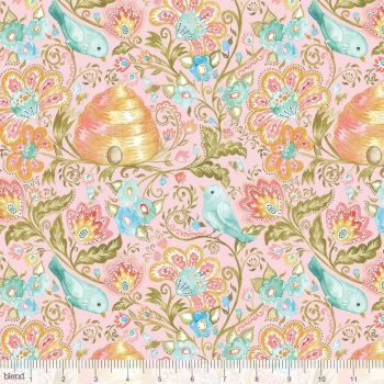 Blend Fabrics - A Meadow's Tale - Hive and Finch in Pink, per fat quarter