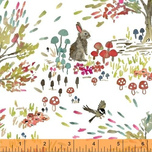 <!--5501-->Windham Fabrics - Enchanted Forest on White, per fat quarter