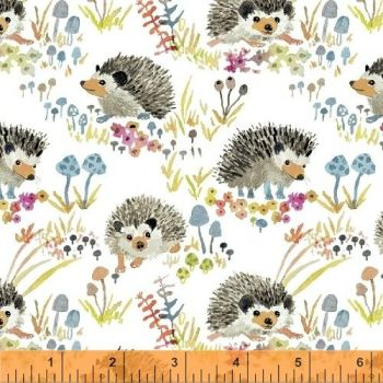 Windham Fabrics - Enchanted Forest - Hedgehogs on White, per fat quarter