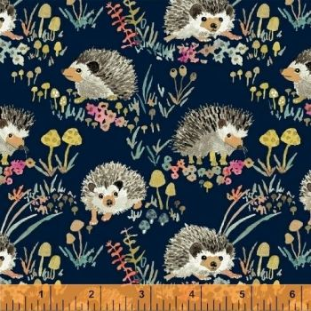 Windham Fabrics - Enchanted Forest - Hedgehogs on Blue, per fat quarter