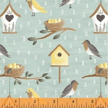Windham Fabrics - Smitten with Spring - Birds and Nests on Blue, per fat quarter