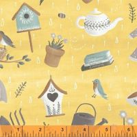 <!--5507-->Windham Fabrics - Smitten with Spring - Scatter on Yellow, per fat quarter