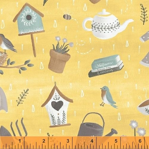 <!--5507-->Windham Fabrics - Smitten with Spring - Scatter on Yellow, per f