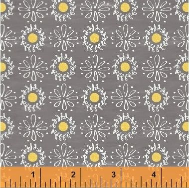 Windham Fabrics - Smitten with Spring - Daisies on Grey, per fat quarter