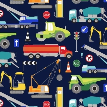 Windham Fabrics - One of a Kind - Trucks on Blue, per fat quarter