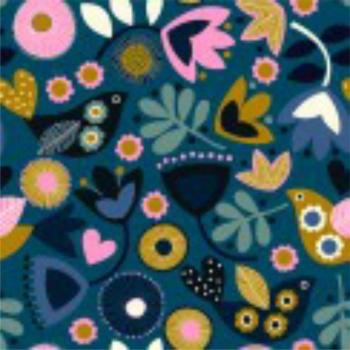 Dashwood Studios - Fabulous Cord - Teal Flowers, per fat quarter