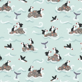 Lewis & Irene - Spin Drift Puffin Rock on Pale Blue, per fat quarter