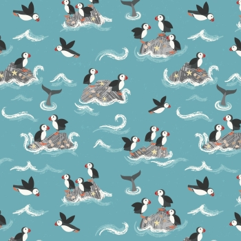 Lewis & Irene - Spin Drift Puffin Rock on Turquoise Blue, per fat quarter