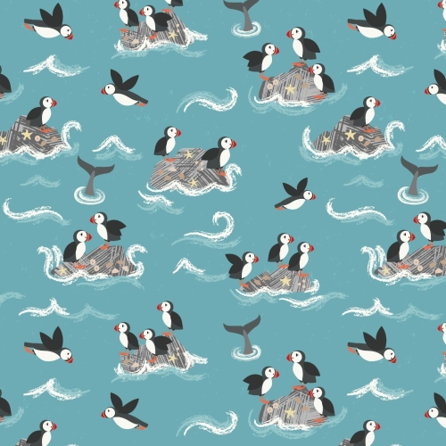 <!--4218-->Lewis & Irene - Spin Drift Puffin Rock on Turquoise Blue, per fa