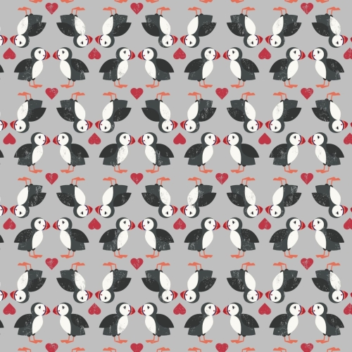 <!--4221-->Lewis & Irene - Spin Drift Puffin Pairs on Grey, per fat quarter