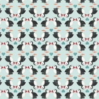 <!--4222-->Lewis &amp; Irene - Spin Drift Puffin Pairs on Blue, per fat quarter