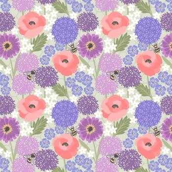 Lewis & Irene - Bee Kind Allium & Poppies on Light Sage, per fat quarter