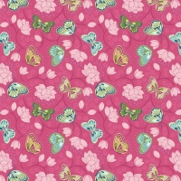 <!--4228-->Lewis &amp; Irene - Sew Mindful Lotus Flowers on Hot Pink, per fat quarter