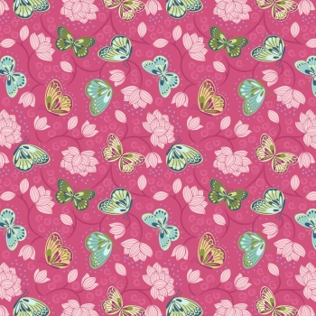 Lewis & Irene - Sew Mindful Lotus Flowers on Hot Pink, per fat quarter