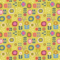 <!--4231-->Lewis &amp; Irene - Hann's House Summer Flowers on Yellow, per fat quarter