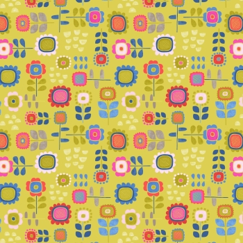 Lewis & Irene - Hann's House Summer Flowers on Yellow, per fat quarter