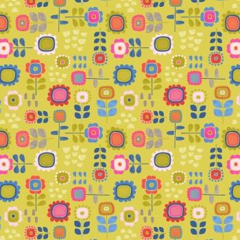 Lewis & Irene - Hann's House Summer Flowers on Yellow, per fat quarter